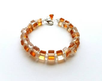 """Cute and Fun """"Peaches and Cream"""" Glass Triangle Beads Memory Wire Bracelet with Clasp"""