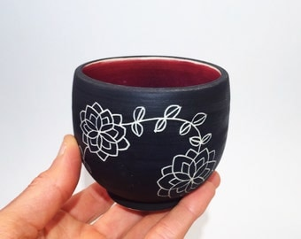 Ceramic Sake Cups, Wine Cups, Matte Black, Red, Handcarved Design