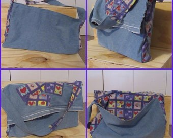 Denim with Hearts Messenger Tote