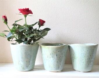 Aqua blue green rain glaze ceramic pot, succulent planter, flower pots