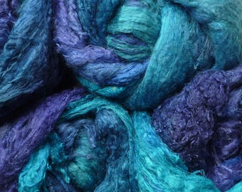 Mulberry silk - A grade silk lap - hand dyed - blue/turquoise silk fibers - needle felting - wet felting - spinning - knitting - sewing