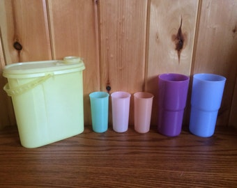 Tupperware 117 Glasses - Tupperware 2413A Glasses - Tupperware 587-9 Juice Container - Vintage Tupperware Set - Tupperware - Kids Glasses