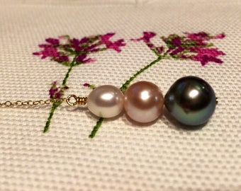 Pearl trio lariat necklace (free shipping)
