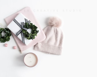 Styled Stock Image | Christmas gift, Blush Hat and Clutch Flatlay | Christmas Photography | Holiday Styled Image