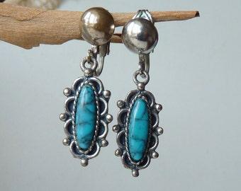 Vintage Faux Turquoise Clip On Dangle Earrings, Sancrest Earrings Clip On Southwestern Jewelry, Turquoise 50's, Native Turquoise Jewelry