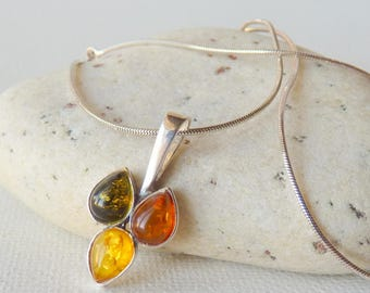 Vintage Amber, Sterling Silver Baltic Amber Pendant, Necklace Sterling Silver, Chain Necklace,Three Color Amber Drop, Retro AmberJewelry