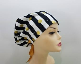 Women's surgical scrub hats, or scrub caps-Elegant stripes & golden  polka dots- cotton 100%
