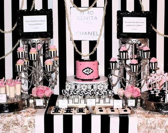 Chanel Themed Party, Paris Themed Party, Black and White Party Decor, Black and Pink Party, Striped Themed Party, Baby Shower, Bridal Shower