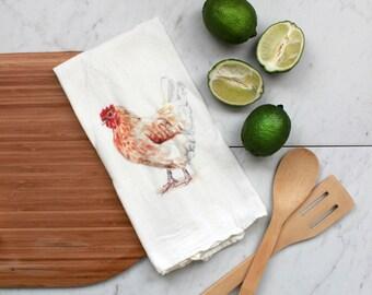 Chicken Flour Sack Tea Towel / Flour Sack Towel / Farmhouse Decor / Tea Towel / Cotton Towel / Hen / Watercolor / Kitchen Decor