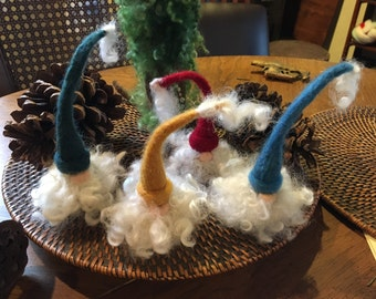 Tiny Needle Felted Santa Gnomes - Red, Blue, Green, Gold