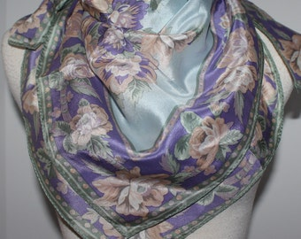 Liz Claiborne 1990 Vintage Silk Soft Floral Scarf Made in Japan 31 Inches x 31 inches