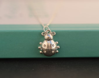 Silver Ladybird necklace. Sterling Silver Ladybug necklace. Sterling Silver Ladybird necklace. Lucky necklace. Everyday necklace