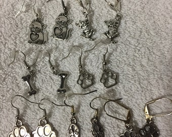 Pet paw & Bone, cat earrings, backs included, along with Animal Awareness earrings
