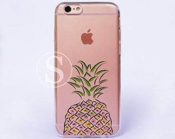 Pineapple iPhone Case, Clear iPhone 6 Case, Clear iPhone 7 Case, iPhone 7 Plus Case, Clear iPhone 6s Plus Case, Clear phone case, SA-34