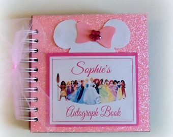 Fave Princesses! PERSONALIZED Disney Princess Inspired Autograph Book Scrapbook Travel Journal Vacation Photo Album 257