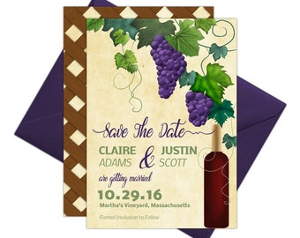 Vineyard Save The Date Cards - Winery Save The Date Announcements - DIY Edit and Print at Home using Adobe Reader
