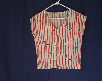 80s Red and White Striped Abstract Tank Top