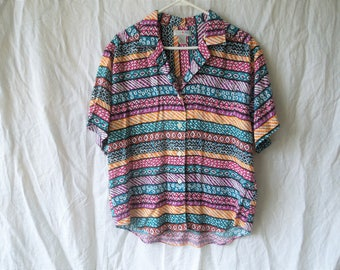 90s Abstract Funky Print Button Up T-Shirt