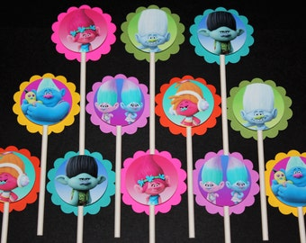 Trolls Cupcake Toppers, 12 count Cake Toppers, Dreamworks Trolls, Poppy, Branch, DJ Suki, Guy Diamond