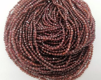 2 mm Garnet Micro Faceted Rondelle Beads, 15.25 Inch