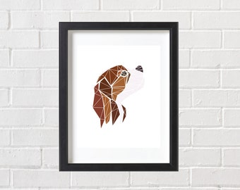 King Charles Spaniel Print, Dog Print, Geometric Dog Print, Brown and White Dog, Geometric Pet Print, Spaniel Print, Dog Wall Art, Ginger
