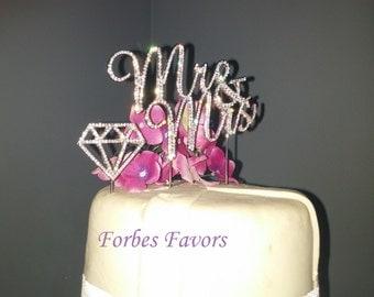 Set of 2 Silver Rhinestone Mr & Mrs Rhinestone Diamond Cake Topper Wedding Cake Topper