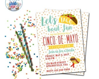Cinco de Mayo Invitation, Fiesta Invitation, Taco Party Invite, Let's Taco 'Bout Fun