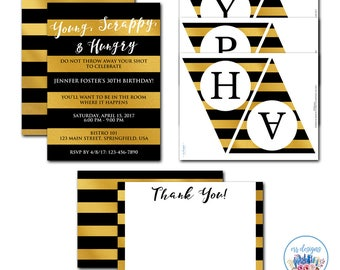 Hamilton Party Package, Hamilton Invitation, Hamilton the Musical, Editable Hamilton Invitation, Hamilton Birthday Party