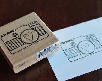 Camera Love Wood Mounted Rubber Stamp NEW Travel Vacation Road Trip
