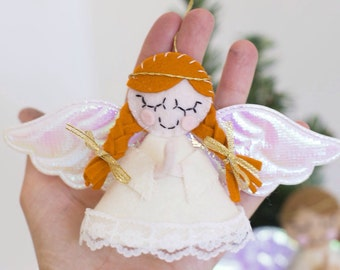 Small praying angel Christmas ornaments in white and gold. Ready to ship.
