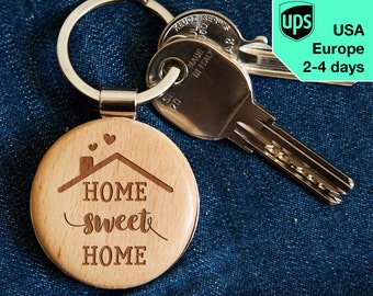 Home Sweet Home - key chain, laser engraved wooden key chain