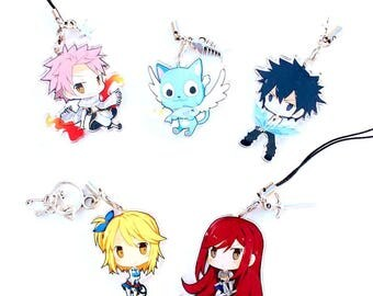 Hand-Drawn Double Sided Front & Back Anime Acrylic Charms with Phone Strap