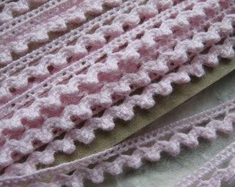 3 METRES soft pink cotton lace trim 7mm wide lingerie clothing dolls