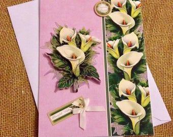 Calla Lillies Decoupaged Birthday Card - Flowers Birthday Card - Women's Birthday Card