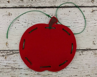 Apple Lacing Card, Quiet Game, Toddler Toy, Travel Toy, Party Favor