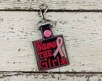 Save the Girls Breast Cancer Awareness  Keychain - Bag Tag - Small Gift - Gift for Her - Thank You Gift - Bag Accessory - Zipper Pull