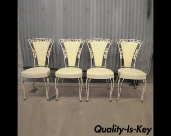 Set of 4 Wrought Iron Vine Leaf Patio Dining Chairs Woodard Garden Furniture