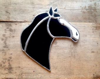 Black horse, horse art, stained glass art, black white silver, horse decor, black horse art, black white horse, western decor, country gift