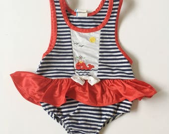 Vintage Nautical Swim Suit Bathing Suit Baby Girl 6-12 months