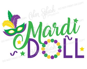 Mardi Gras SVG, mardi doll svg, girls mardi gras cut file, png, dxf, eps, beads, silhouette cameo, cricut file, Girls clothes Vinyl Cut file