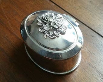 Vintage silver jewelry Casket box with red velvet and roses