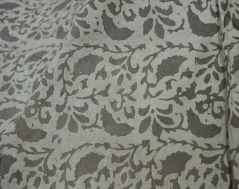 Block Print fabric, Soft Cotton Fabric sold by yard in Brownish-grey Indian fabric Dabu Hand Stamped Fabric dress fabric bohemian fabric