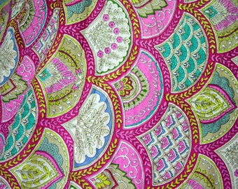 Quilting Cotton, Fabric by the Yard, Indian Cotton Fabric by yard - Summer Dresses in Scallops Print, Boho Fabric, Gypsy Fabric crafting