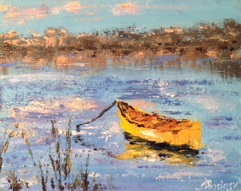 Oil painting of yellow boat on a pond, canoe, canoe art, home decor palette knife thick impasto FREE SHIPPING