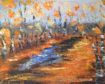 Fall alley after rain, painting of puddle in autumn, art palette knife, thick impasto FREE SHIPPING