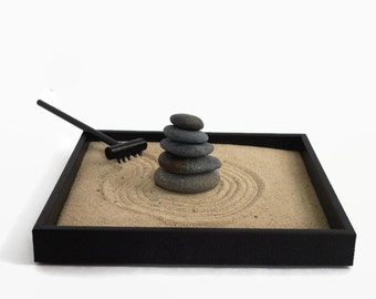 Office Decor Desk Accessories Stacked Stones Mini Zen Garden Relaxation Gifts - Stress Relief Kit Stackable Smooth Stones Zen Garden Kit