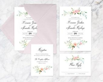 Pastel Flowers Printable Wedding Invitation Set, Blush Soft Flowers Garden Party Wedding Invitation Set
