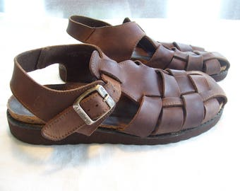 Woven Leather Sandals  American Eagle Leather Huarache Women Sz 9.5 New Soles Brown
