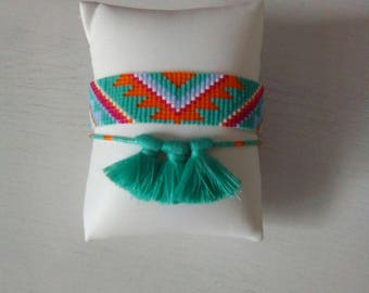 Woven bracelet with miyuki beads and tassels
