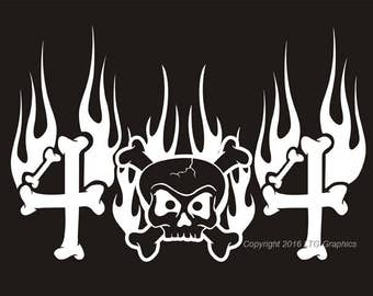 """4X4 Flames Skull Offroad Fun Sticker Decal available in 14 colors. Automotive Vinyl. 8"""" wide x 5.5"""" tall. Jeep Off Road 4 Wheel Drive"""